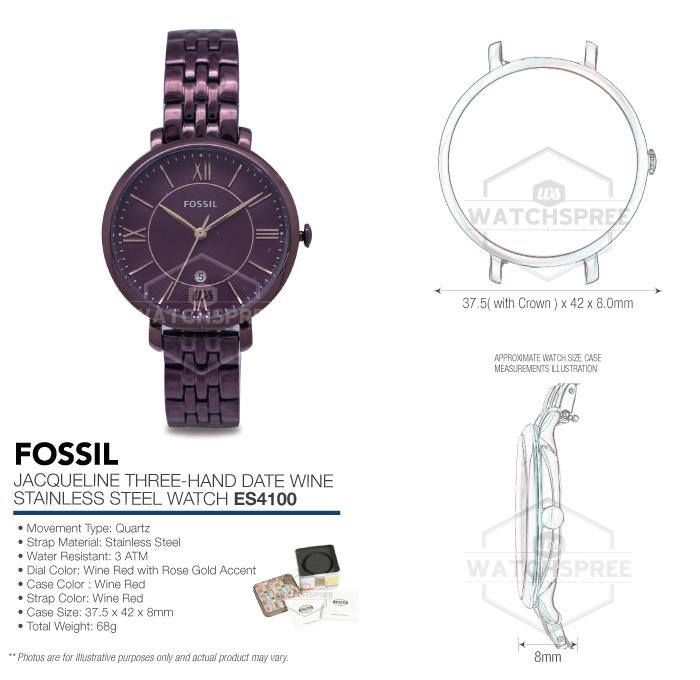 Fossil Women S Jacqueline Es Wine Stainless Steel Quartz Fashion Watch