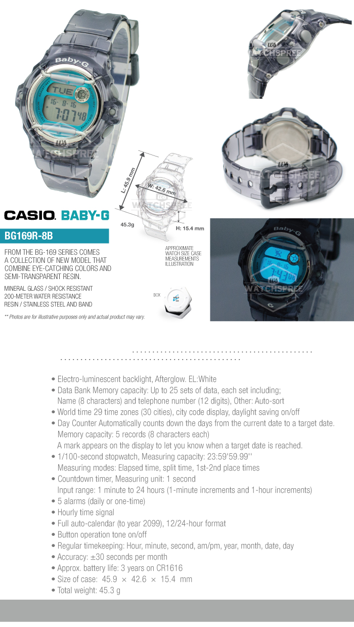 Casio Baby G New Bg 169 Series Watch Bg169r 8b 4549526122347 Ebay Babyg 169r 4bdr Store Categories