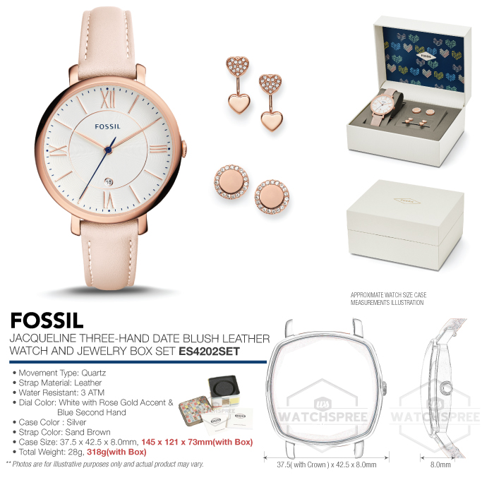 Fossil Jacqueline ThreeHand Date Watch and Jewelry Box Set