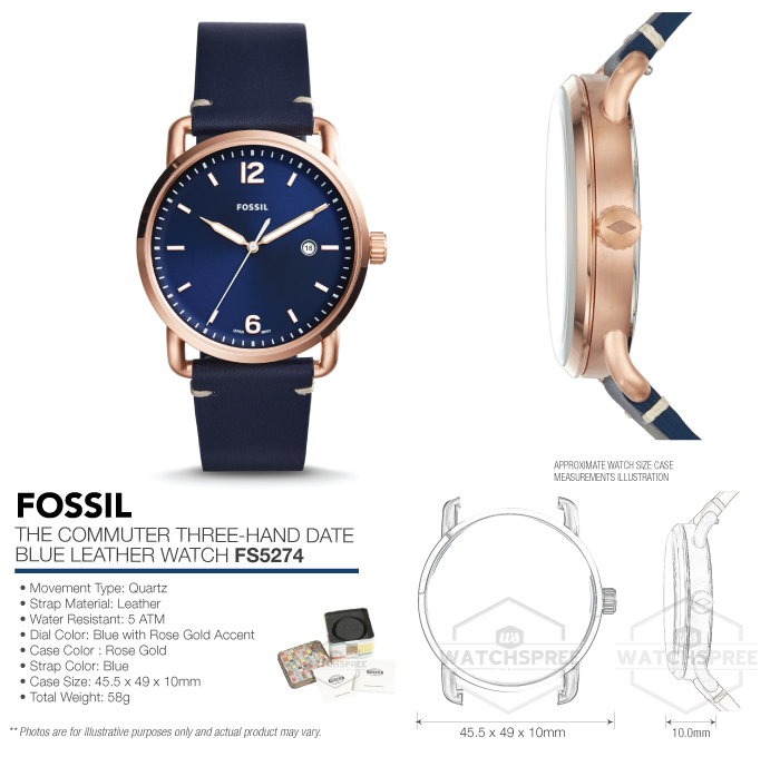 151303375ef5 Fossil The Commuter Three-Hand Date Men s Watch FS5274 796483314702 ...