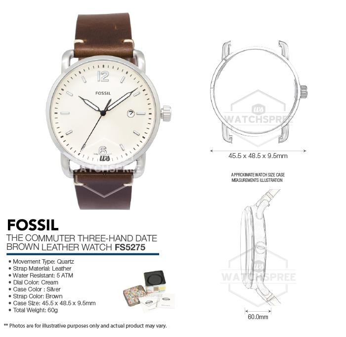 5feb38659e8c Fossil The Commuter Three-Hand Date Men s Watch FS5275 796483314719 ...