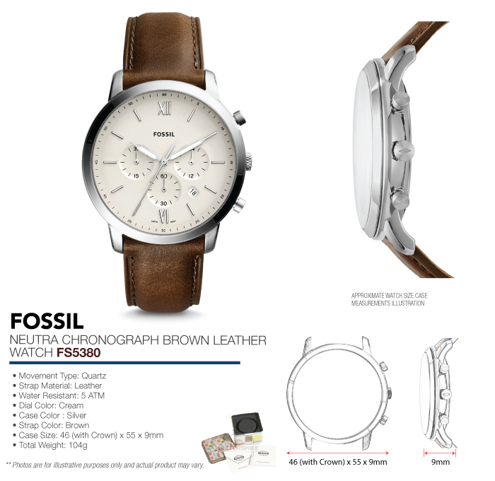 a67332e4ad5 Fossil Men s Neutra Chronograph Brown Leather Watch FS5380 ...