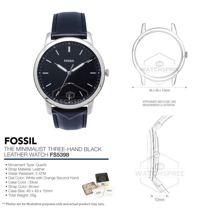 a5c0d8740 Fossil Men's The Minimalist Three-Hand Black Leather Watch FS5398 ...