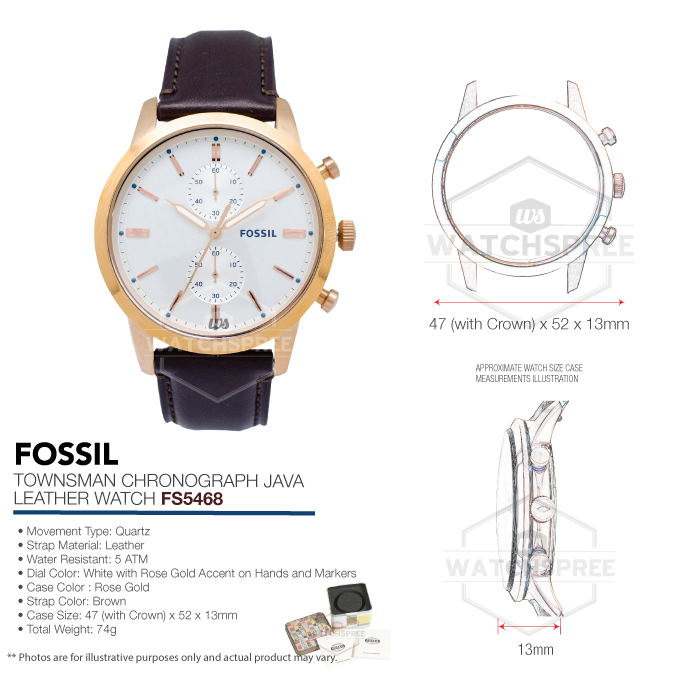1a937c4075a8 Fossil Men s Townsman Chronograph Java Leather Watch FS5468 ...