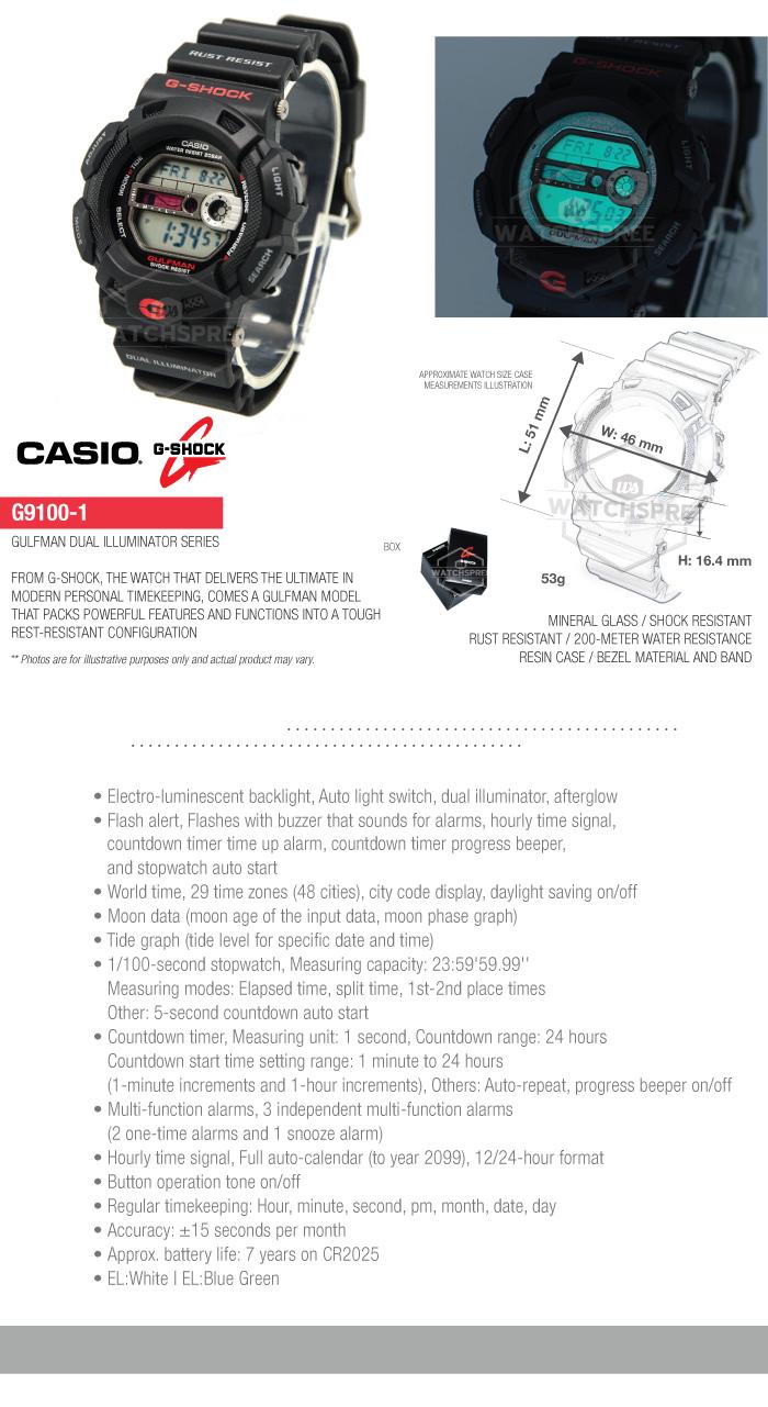 Casio G Shock Gulfman double Illuminateur Series Watch G9100  aXrlW