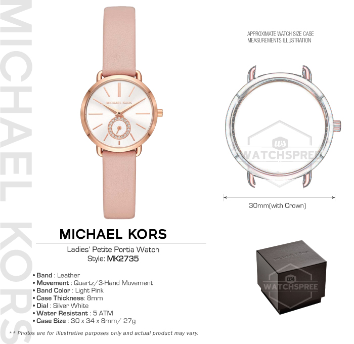 3835ee5f1b8e Michael Kors Ladies  Petite Portia Pink Leather Strap Watch MK2735 ...
