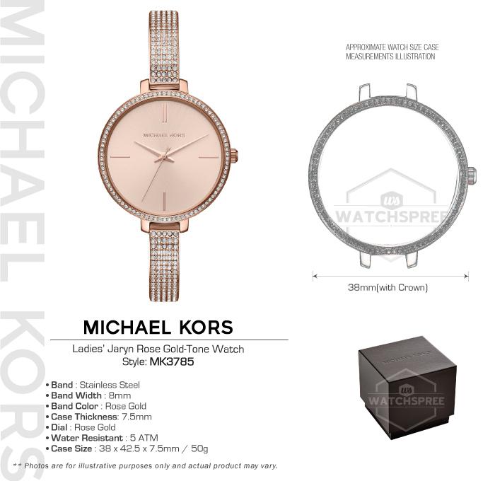 a7327891cb63 Michael Kors Ladies  Jaryn Rose Gold Tone Watch MK3785