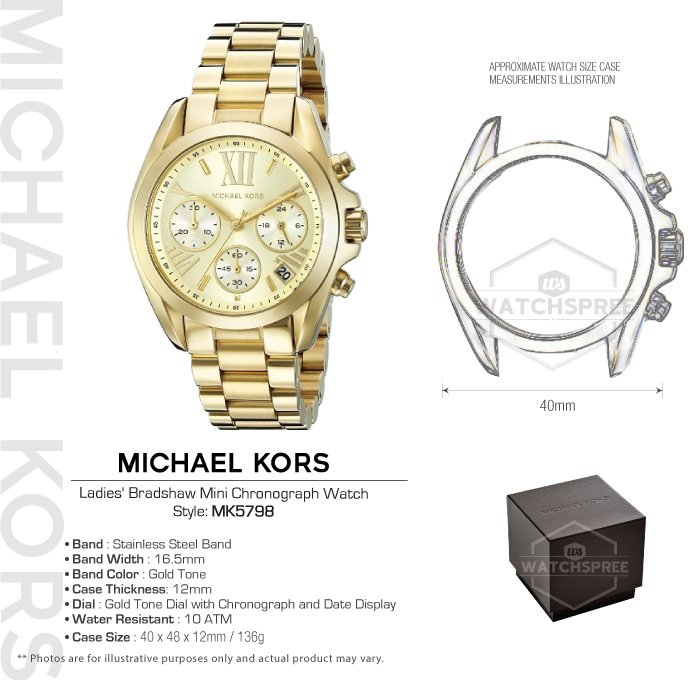 2cd16e9a09c Michael Kors Ladies  Bradshaw Mini Chronograph Watch MK5798 ...
