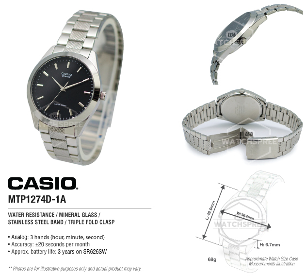 Casio MTP1274D1A Men's quartz dress watch - $17.99 36mm stainless steel case, stainless folded link