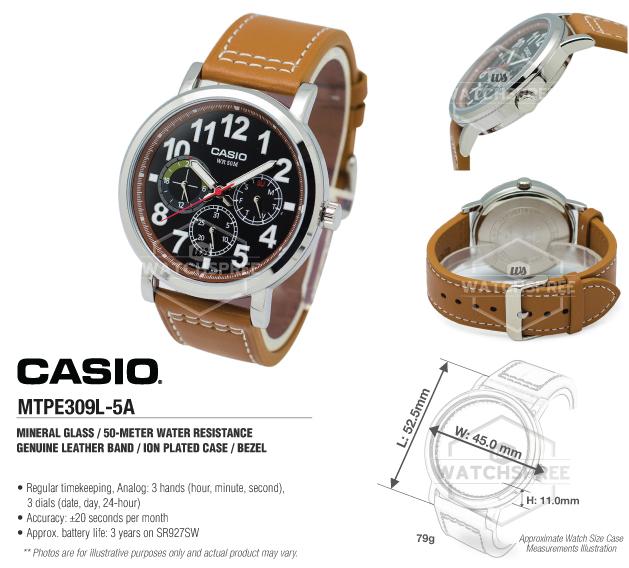 5a Mtp Standard E309l Analog Details About Casio Watch Mtpe309l Men's 1clKF3TJ