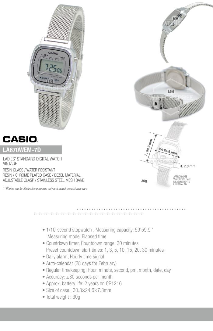 4226bb7f043 Casio Ladies  Standard Digital Vintage Watch LA670WEM-7D ...
